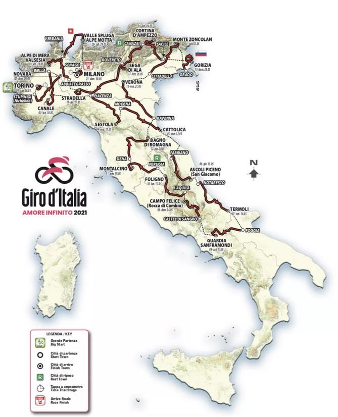 Giro d'italia 2021 kaart