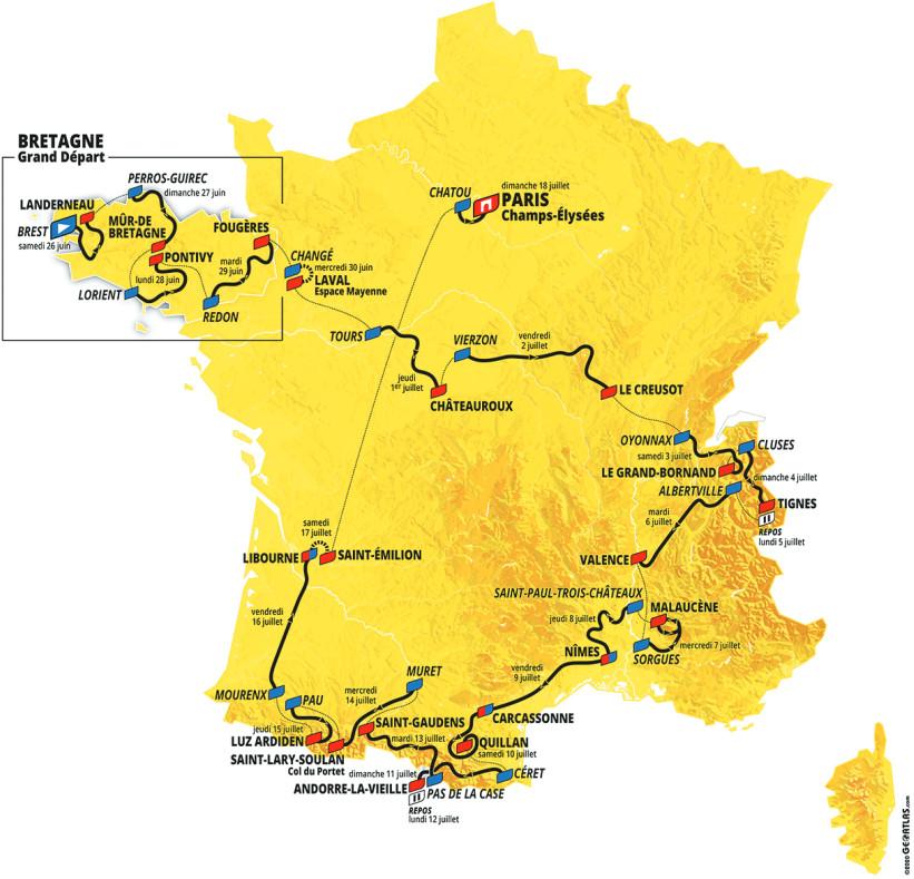 Tour de France 2021 map / route